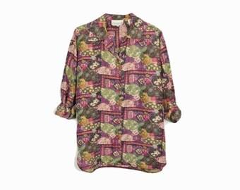 Vintage Baroque Print Silk Shirt / Baroque Silk Blouse - women's large