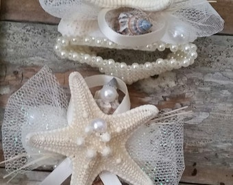 Knobby Starfish Corsage- With Beaded Pearl Bracelet
