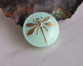 18mm Mint Green & Gold- Czech Glass Dragonfly Button (51-B)