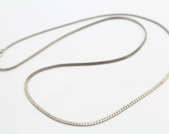 "Vintage Sterling Silver Flat Serpentine Chain Necklace 18"". [6258]"