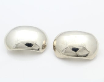 Classic and Minimal Sterling Silver Clipback Dome Earrings. [6339]