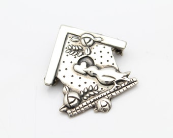 Cute Birdhouse and Bird Brooch in Sterling Silver. [9246]