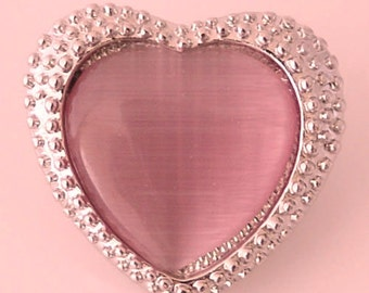 KB8740  - Large Pink Pearlized Heart Surrounded by Tiny Silver Beads
