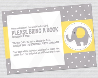 Please bring a book instead of a card, with yellow and grey elephants - Baby shower book request card -  Printable PDF file.