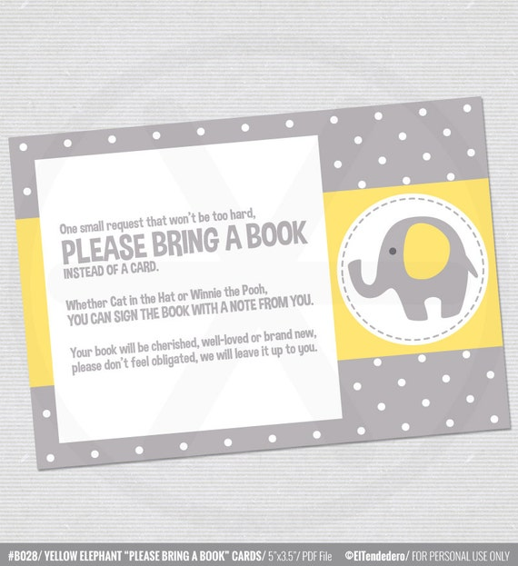 bring a book instead of a card with yellow and grey elephants baby