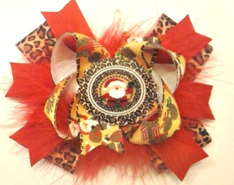 Santa Leopard Hair Bow , Christmas Hair Bow , Stacked Hair Bow , Red Leopard Hair Bow