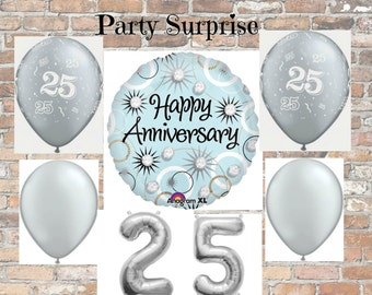 25th Anniversary balloons, Silver Balloons 25th Birthday Balloons, Anniversary Party Balloons, 25th Anniversary Party, 25 Birthday Party