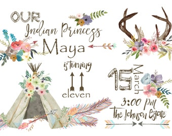 Indian Princess Birthday Invitation Printable