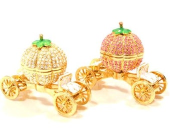 Luxury Beautiful Cinderella Mini Pumpkin carriage Jewelry Box,jewelry case,Gift Box,Accessary case-present -ring case