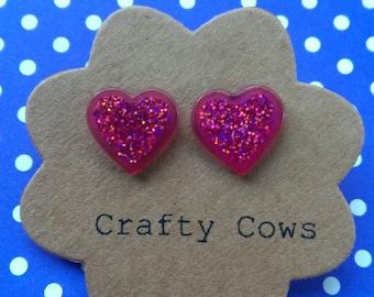 Hot pink glitter heart stud earrings pink  glitter earrings glam disco heart stud earrings glitter earrings uk