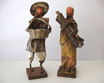 Vintage Folk Art Figures / Old Man and Woman Folk Art Statues / Mexico