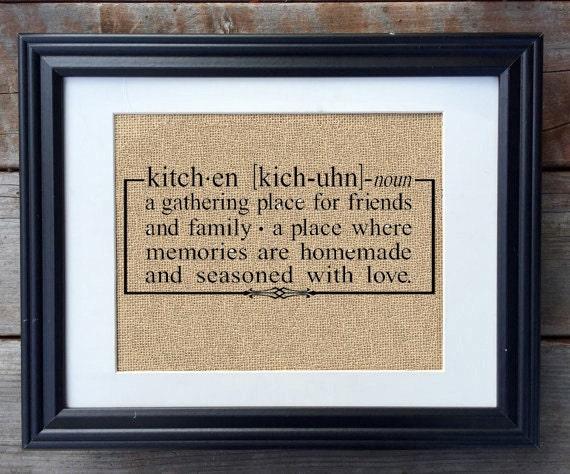 Kitchen Definition Burlap Print Rustic Home Decor