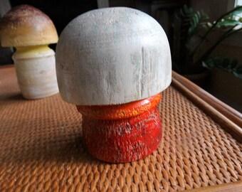 Satan's Bolete Mushroom (original wood turning) wooden mushroom, painted wooden mushroom, mushroom sculpture.