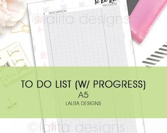 Filofax Kikki K Printable To Do List with Progress Insert A5 Size
