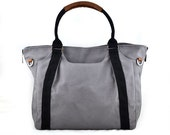 Summer Sale 20% OFF// HOLLY // Dark Grey with Black Handle / Lined with Grey Stripes / 081 // Ship in 3 days // Diaper bag / Shoulder bag /