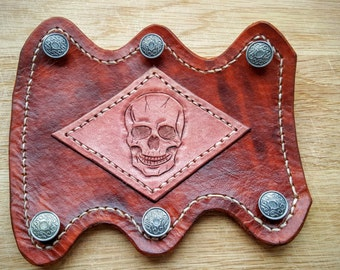 Archery Armguard / Leather Bracer - Skull