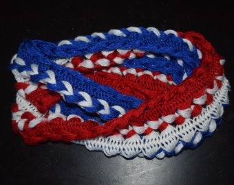 Crochet Red, White and Blue Scarf