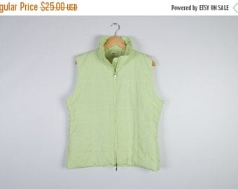 ON SALE Light Green Vest Women Quilted Comfortable Outerwear Sleeveless Green Sport Waistcoat Size Large