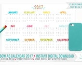 Printable A6 Calendar 2016 RAINBOW - 1 page - Instant Digital Download