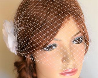Birdcage Veil, Birdcage veil flowers, wedding fascinator, bridal fascinator, veil fascinator, flower headpiece, veil with flower