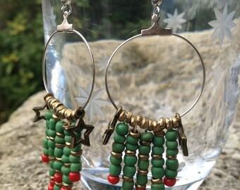 Boho Green and Red Earrings
