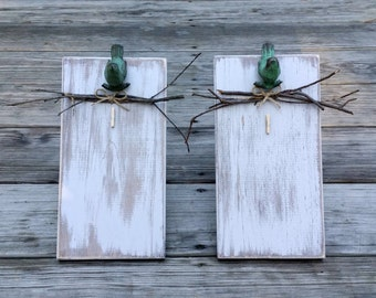 Distressed Rustic Wooden Picture Frames , Woodland Frame, Clothespin Picture Frame, Memo Board, Rustic Wedding Gift, Wooden Frame, Set of 2