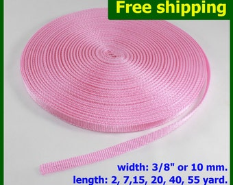 "PROMO SALE !!! 3/8""(10mm) Pink Nylon webbing fabric lots DIY supply 3 7 15 20 40 55 yard"