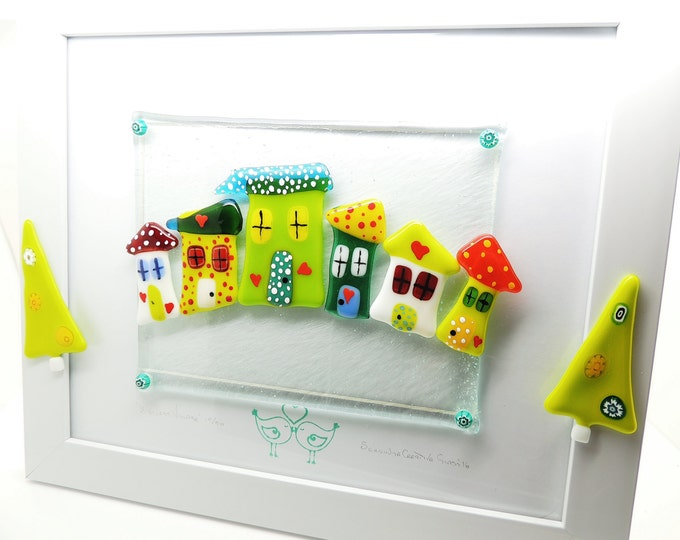 Fused glass wall art panel. 'Higgledy houses' display. Limited edition Home decor handmade. Birthday housewarming, wedding anniversary gifts