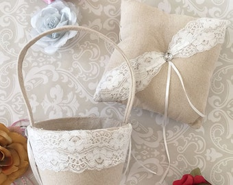 Rustic Ring Bearer Pillow & Flower Girl Basket