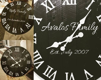 """24"""" Painted and Distressed Wood Wall Clock"""