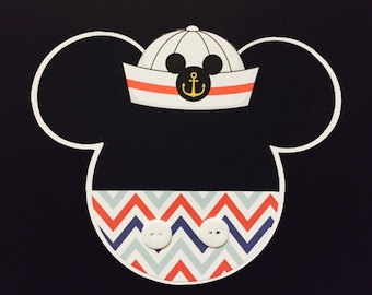 12 NAUTICAL MICKEY MOUSE inspired Baby Shower Party Invitations, Envelopes and Labels included
