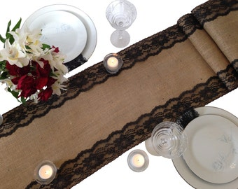 """Burlap Table Runner, BLACK Lace, 16-30 Ft, 12"""" Width, Lace Edges - Wedding Table Runner, Country Home Decor, Farmhouse Decor, Rustic Wedding"""
