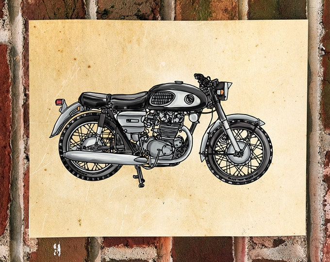 "KillerBeeMoto: Limited Print Hand Drawn Vintage ""Black Bomber"" Motorcycle Graphic Drawing 1 of 50"