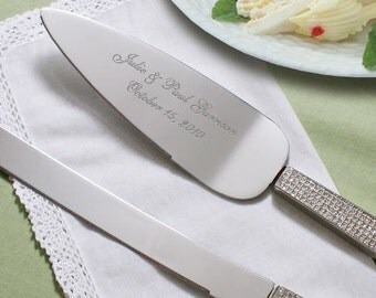 Personalized Wedding Cake Server and Knife Set, Engraved, Glitter Cake Server
