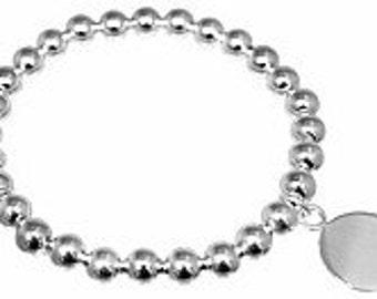 Monogrammed Silver Bead Bracelet, Stackable Bracelet