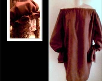 2PC PEASANTRY WENCH Shirt & Bonnet Set - Choose Color