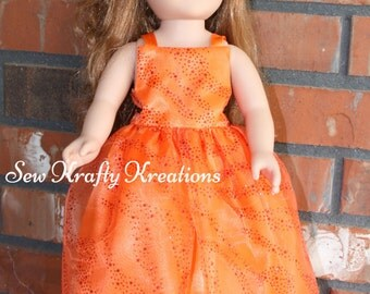 """Orange Sparkly Doll Gown for 18"""" doll like American Girl"""