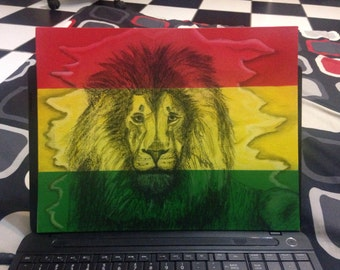 Rasta Lion Painting Original