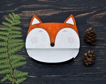 Fox Phone Stand, Docking Stations, Christmas Gift, Fox Kitchen iPad Stand, Woodland Mobile iPhone Stand, Fox Wooden Stand