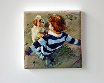 Tiny Canvas | Best Friends | Dog Art | Canvas Print | Wall Art | Boy with Dog | Small Art Print | Present | Collectible Art | Miniature Art