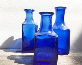 Vintage Cobalt Bottles Set of Three Varied Sizes and Shapes Old Bottles Window Sill Decor Wedding Decor