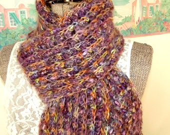 Crochet Scarf, Purple Scarf, Soft Scarf, Multicolor Scarf, Thick Scarf, Gemstone Inspired, Handmade, Multicolor