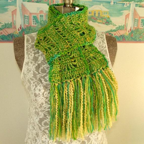 handmade crochet scarf green scarf yellow neck scarf boho