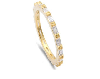2mm Full Eternity Baguette Yellow Gold Sterling Silver Diamond CZ Stackable Wedding Engagement Anniversary Band Ring Matching Band for Ring