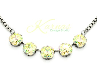 CRYSTAL LUMINOUS GREEN 12mm Cushion Cut Necklace Swarovski Elements *Antique Silver *Karnas Design Studio *Free Shipping