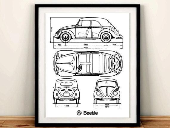 Volkswagen beetle blueprint vw beetle classic beetle volkswagen beetle blueprint vw beetle classic beetle blueprint vw beetle decor instant download vw beetle poster 5x7 8x10 11x14 malvernweather Choice Image