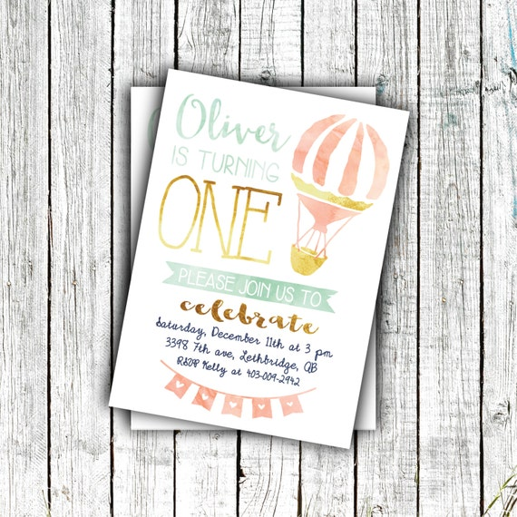 Printable Birthday Invitation, First Birthday, Watercolor, Hot air balloon, Gold Mint and Coral,  Sizes 4x6 or 5x7 #40