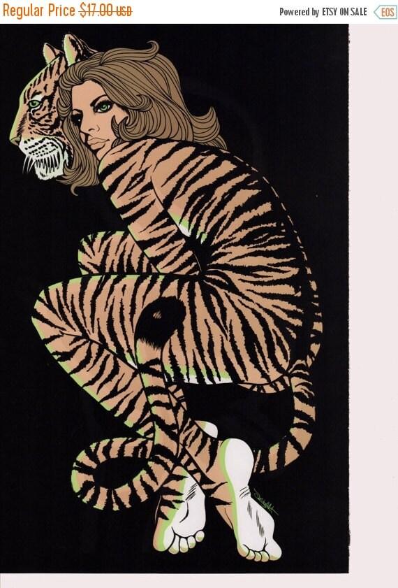 50 Off Estate Sale Vintage Tiger Lady Poster By