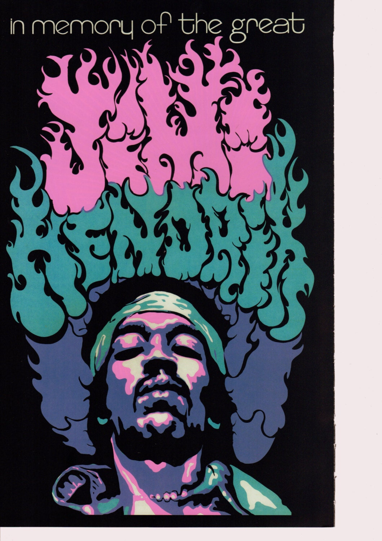 vintage jimi hendrix poster 1960s 1970s psychedelic poster hippie print blacklight poster. Black Bedroom Furniture Sets. Home Design Ideas