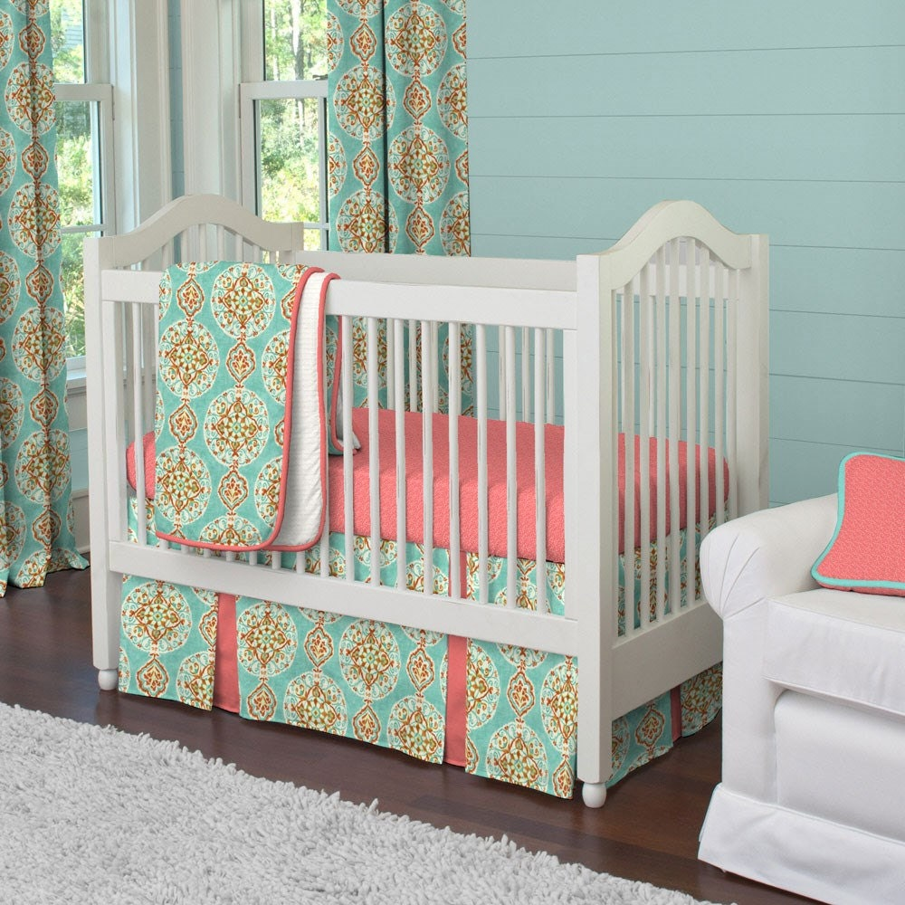 Coral And Aqua Medallion  Piece Crib Bedding Set